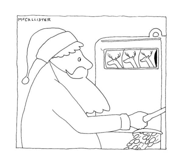 Santa Drawing - New Yorker December 28th, 1992 by Richard McCallister