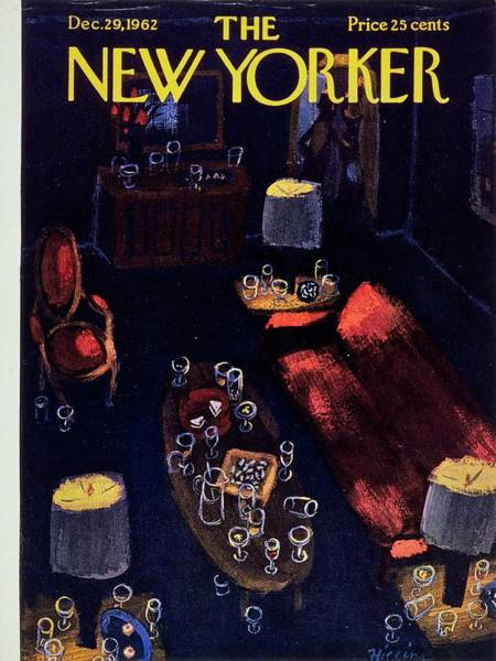 Table Painting - New Yorker December 29th 1962 by Donald Higgins