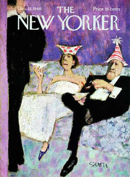 Dress Painting - New Yorker December 31st, 1966 by Charles Saxon
