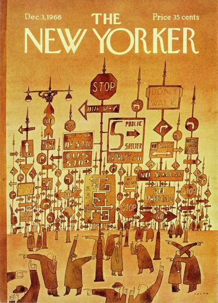 Painting - New Yorker December 3rd 1966 by Jean-Michel Folon