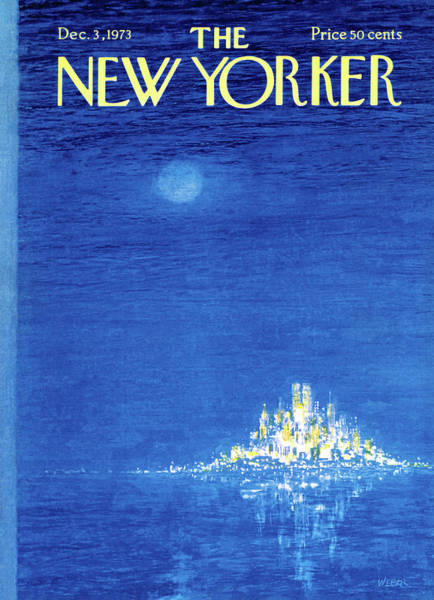 Night Painting - New Yorker December 3rd, 1973 by Robert Weber