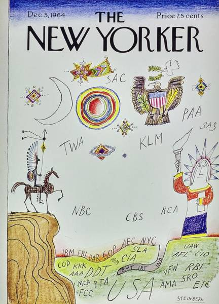 American Culture Painting - New Yorker December 5th 1964 by Saul Steinberg