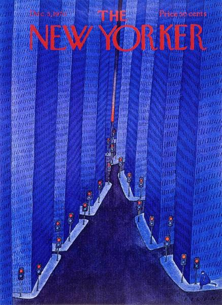 City Lights Painting - New Yorker December 5th 1970 by Jean-Michel Folon