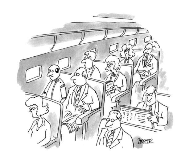 Plane Drawing - New Yorker December 5th, 1994 by Jack Ziegler