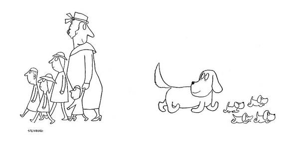 Pup Drawing - New Yorker December 6th, 1941 by Saul Steinberg