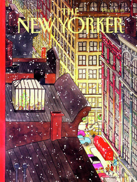 Shopping Painting - New Yorker December 7th, 1992 by Roxie Munro