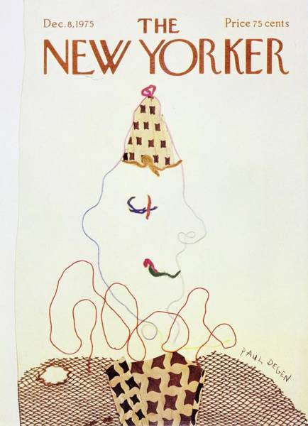 Male Portrait Painting - New Yorker December 8th 1975 by Paul Degen
