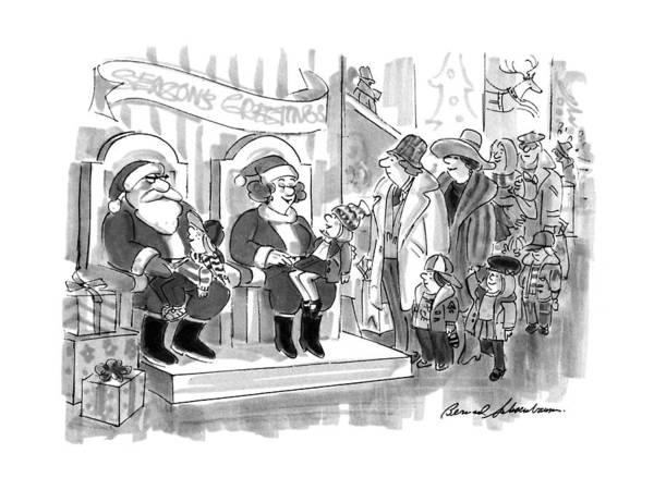 Santa Drawing - New Yorker December 9th, 1991 by Bernard Schoenbaum