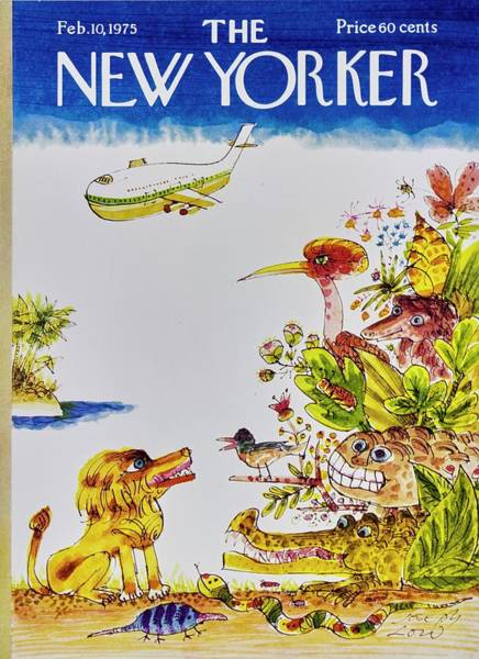Tropical Plant Painting - New Yorker February 10th 1975 by Joseph Low