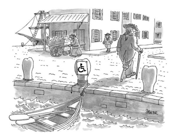 Pier Drawing - New Yorker February 10th, 1997 by Jack Ziegler