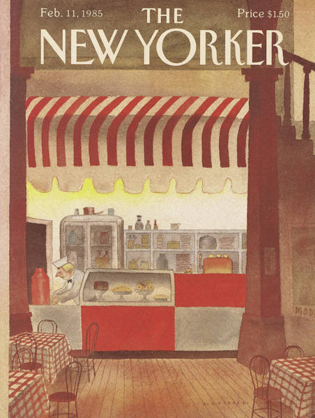 Restaurant Painting - New Yorker February 11th, 1985 by Abel Quezada