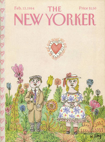 Flower Painting - New Yorker February 13th, 1984 by William Steig