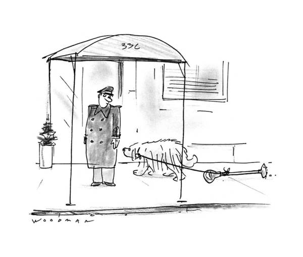 Leash Drawing - New Yorker February 13th, 1995 by Bill Woodman