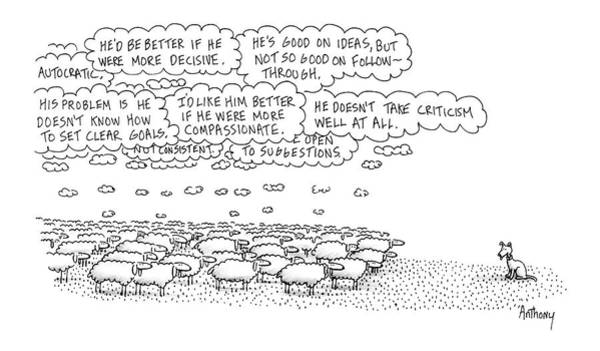 Herd Drawing - New Yorker February 15th, 1988 by Anthony Taber