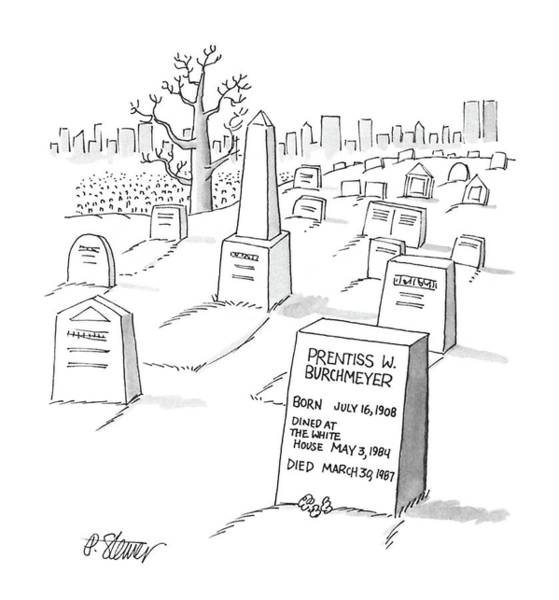 Gravestone Drawing - New Yorker February 15th, 1988 by Peter Steiner