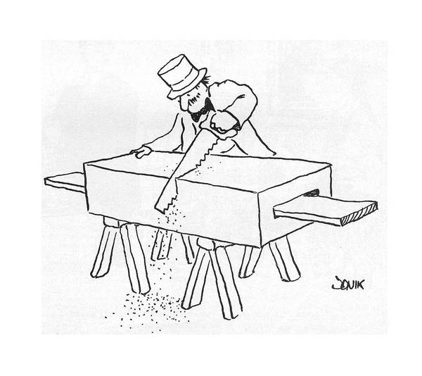 Magician Drawing - New Yorker February 17th, 1975 by John Jonik