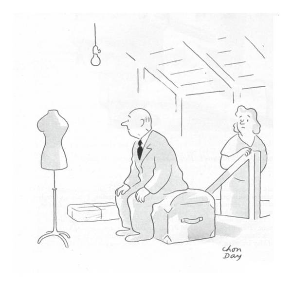 Skinny Drawing - New Yorker February 19th, 1944 by Chon Day