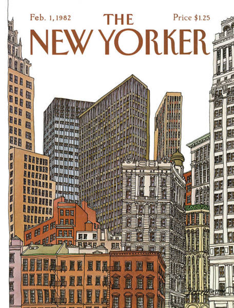 Skyscrapers Painting - New Yorker February 1st, 1982 by Roxie Munro