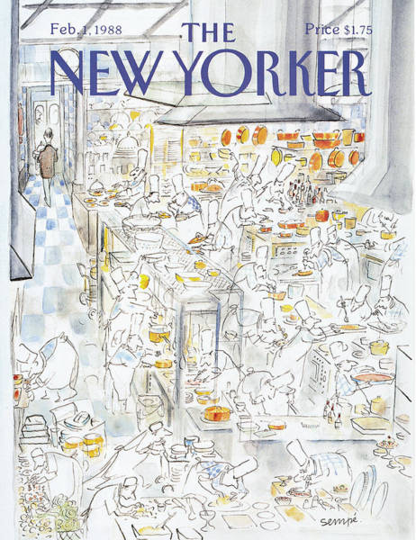 Restaurant Painting - New Yorker February 1st, 1988 by Jean-Jacques Sempe