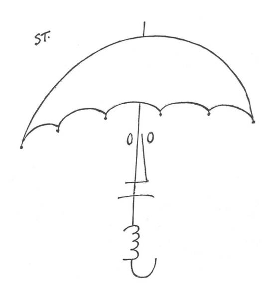 Rain Drawing - New Yorker February 20th, 1954 by Saul Steinberg