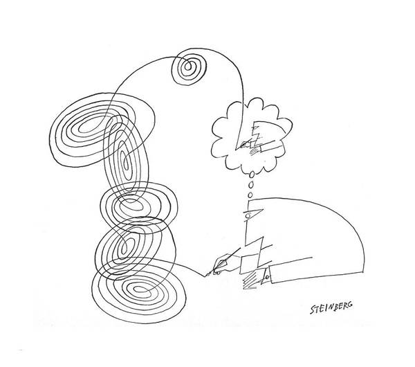 Spiral Drawing - New Yorker February 20th, 1965 by Saul Steinberg
