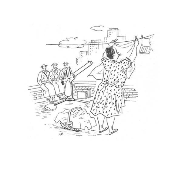 Dry Drawing - New Yorker February 21st, 1942 by Constantin Alajalov