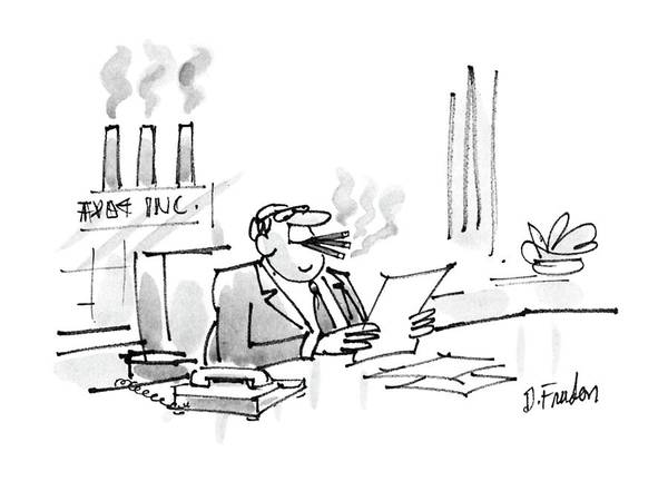 No Smoking Wall Art - Drawing - New Yorker February 22nd, 1988 by Dana Fradon