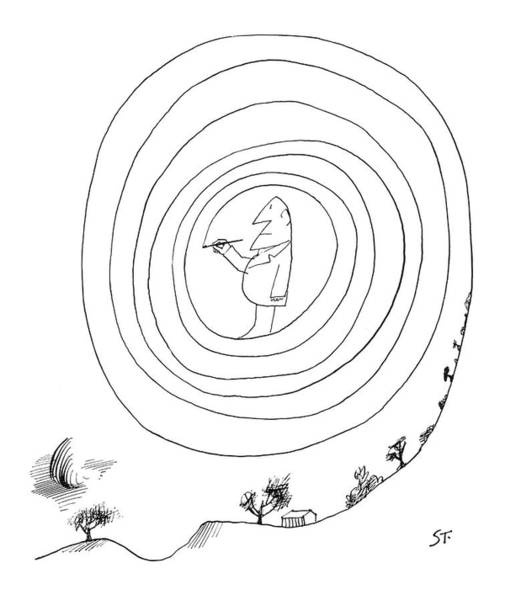 Curve Drawing - New Yorker February 23rd, 1963 by Saul Steinberg