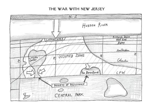 Battle Drawing - New Yorker February 23rd, 1987 by Saul Steinberg