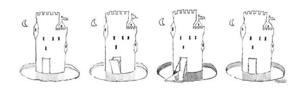 Castle Drawing - New Yorker February 24th, 1986 by Mischa Richter