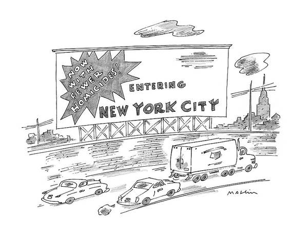 Highway Drawing - New Yorker February 24th, 1997 by Michael Maslin