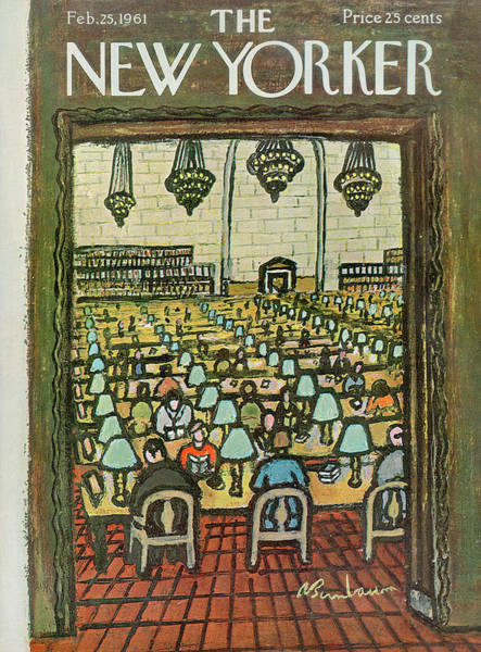 Reading Painting - New Yorker February 25th, 1961 by Abe Birnbaum