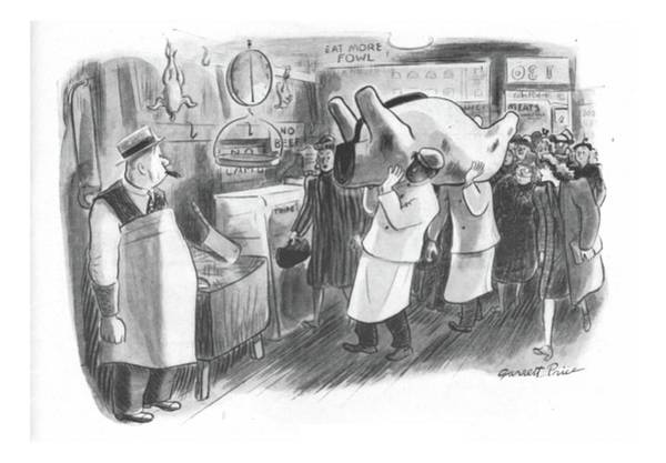 Butcher Drawing - New Yorker February 26th, 1944 by Garrett Price