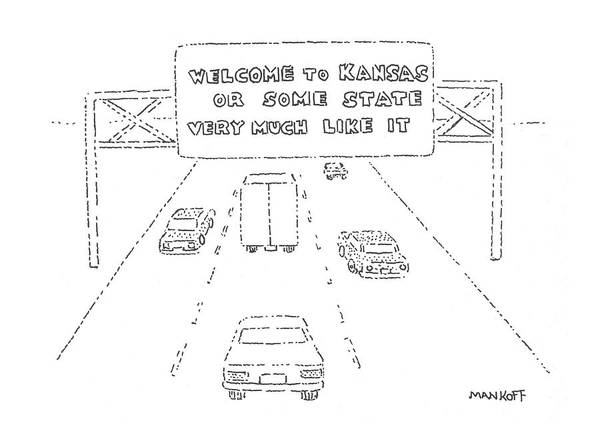 Highway Drawing - New Yorker February 26th, 1979 by Robert Mankoff