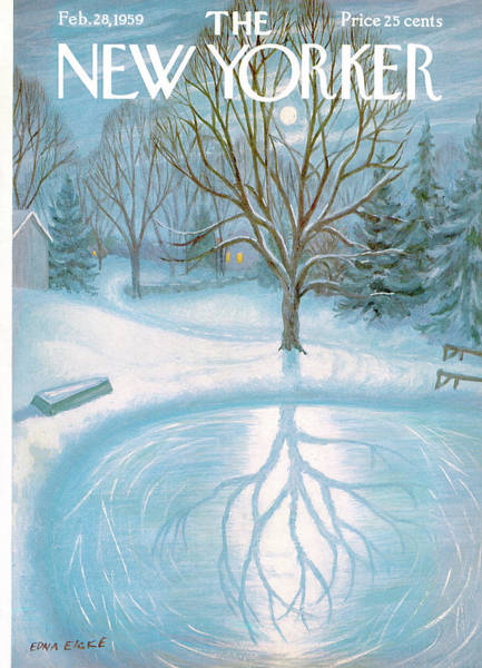 Snowing Painting - New Yorker February 28th, 1959 by Edna Eicke