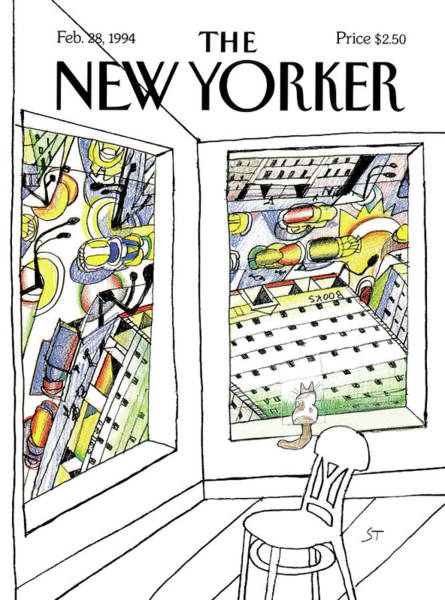 Skyline Painting - New Yorker February 28th, 1994 by Saul Steinberg