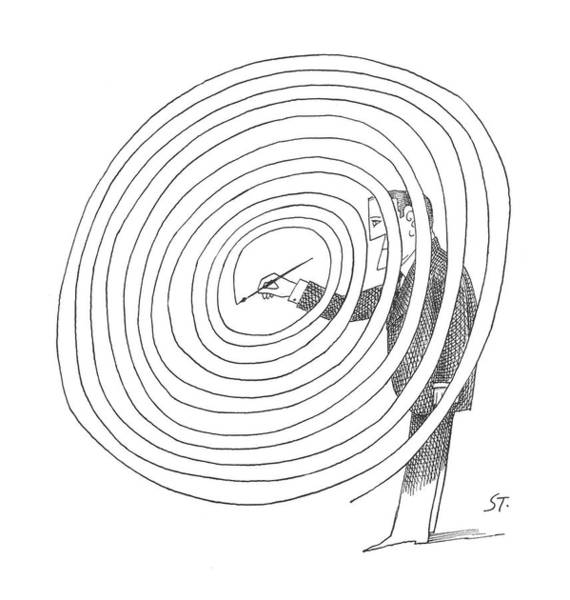 Swirl Drawing - New Yorker February 2nd, 1963 by Saul Steinberg