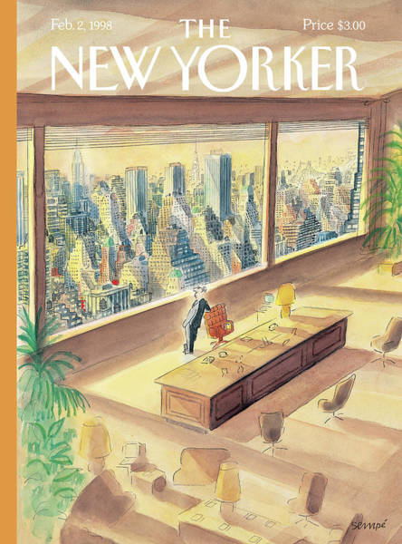 Skyline Painting - New Yorker February 2nd, 1998 by Jean-Jacques Sempe