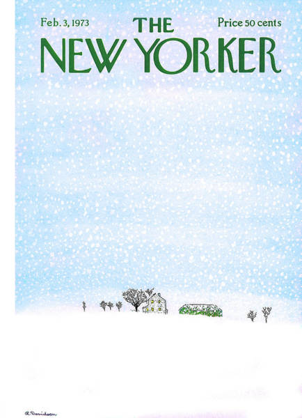 Snowy Painting - New Yorker February 3rd, 1973 by Raymond Davidson