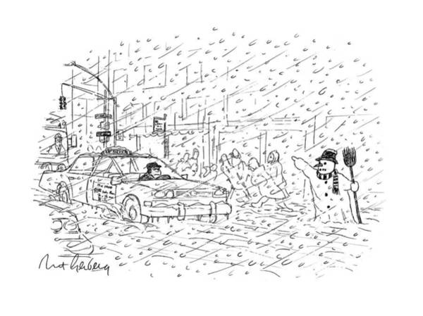 Taxi Drawing - New Yorker February 3rd, 1997 by Mort Gerberg