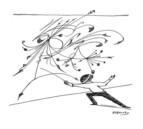 Fence Drawing - New Yorker February 5th, 1955 by Anatol Kovarsky