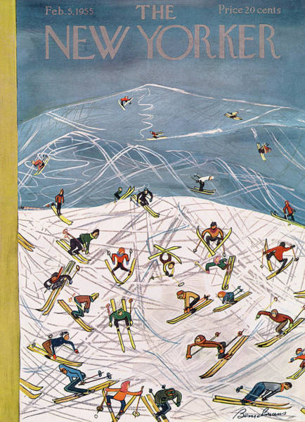 Snowing Painting - New Yorker February 5th, 1955 by Ludwig Bemelmans