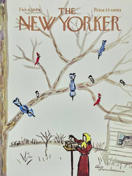 Bare Tree Painting - New Yorker February 8th 1964 by Aaron Birnbaum