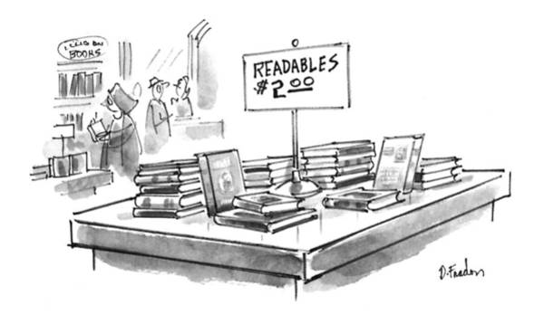 Bookstore Drawing - New Yorker February 8th, 1993 by Dana Fradon