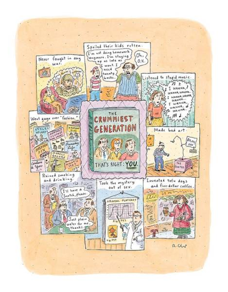 Drinking Coffee Drawing - New Yorker February 8th, 1999 by Roz Chast