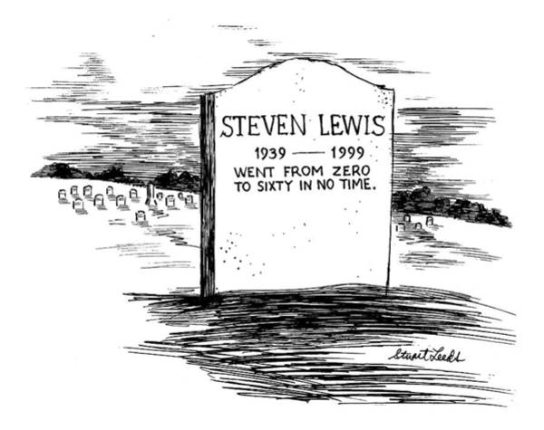 Gravestone Drawing - New Yorker February 8th, 1999 by Stuart Leeds
