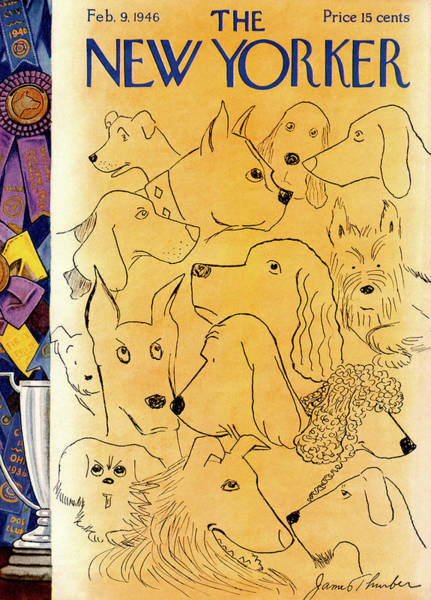 Canine Painting - New Yorker February 9th, 1946 by James Thurber