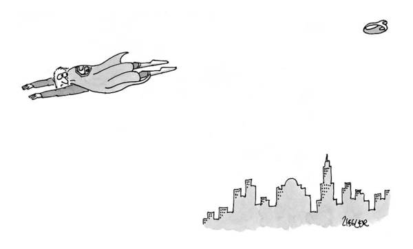 Superhero Drawing - New Yorker January 11th, 1999 by Jack Ziegler