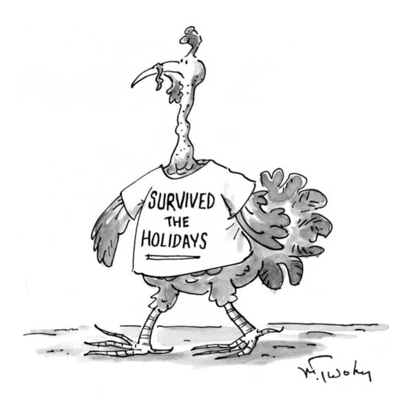 Christmas Drawing - New Yorker January 11th, 1999 by Mike Twohy