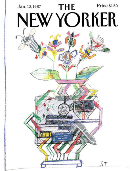 Surrealistic Painting - New Yorker January 12th, 1987 by Saul Steinberg